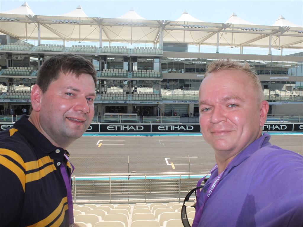 Steve and Jimbo opposite the Red Bull garages