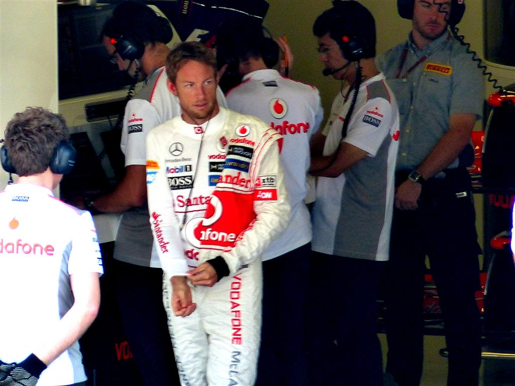 Jenson Button in McLaren garage