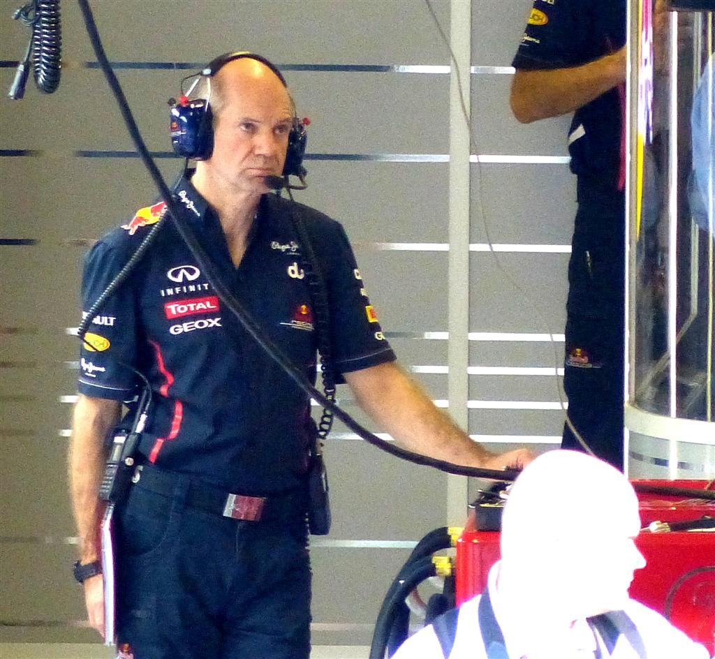 Adrian Newey in Red Bull garage