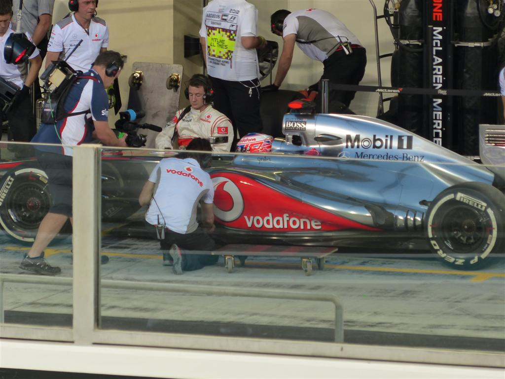 Jenson Button in the pit lane